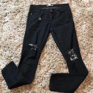 F21 Distressed Black Denim Skinny Jeans #C34